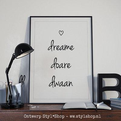 Poster A4 Dreame Doare Dwaan Frysk Fries - zwart / wit