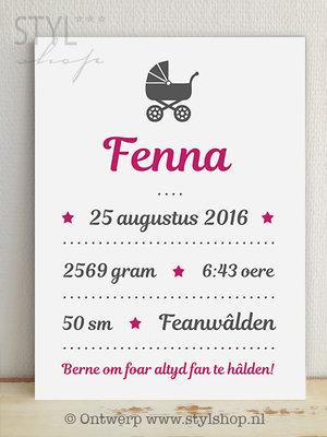 Geboortebord Kinderwagen Meisje - Frysk