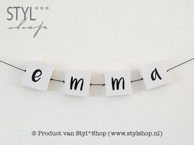 Letterblok - naamslinger - wit