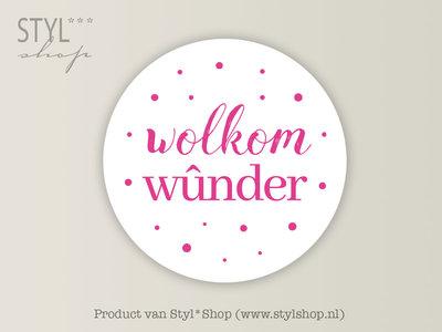 Stickervel A5 Wolkom wûnder Frysk Fries Etiket Roze 35 mm