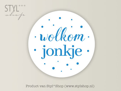 Stickervel A5 Wolkom jonkje Frysk Fries Etiket Blauw 35 mm