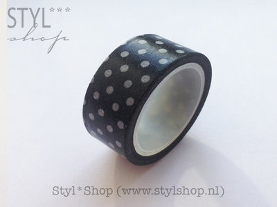 Washi tape / Masking tape zwart wit stip