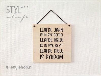 Tekstbord hout Leafde jubileum