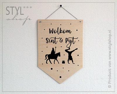 Houten banner Frysk Sinterklaas Wolkom