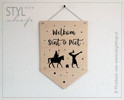 Houten banner Sinterklaas Welkom