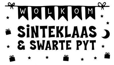 Raamsticker Wolkom Sinteklaas en Swarte Pyt  - Frysk Fries