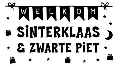 Raamsticker Welkom Sinterklaas en Zwarte Piet