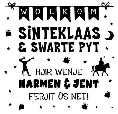 Raamsticker Wolkom Sinteklaas en Swarte Pyt  - mei nammen Frysk Fries