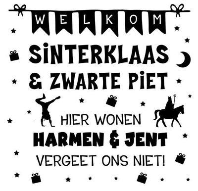 Raamsticker Welkom Sinterklaas en Zwarte Piet  - met namen