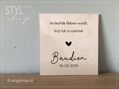 Houten geboortebord / tekstbord Fries