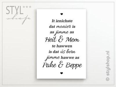 Poster It ienichste dat moaier is - mem, heit, pake, beppe - Fries / Frysk