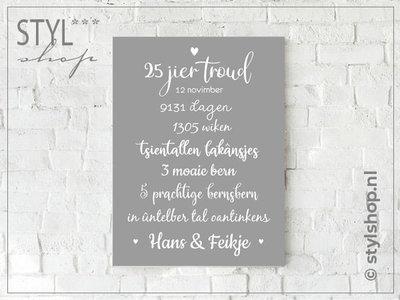 Tekstbord huwelijksjubileum Frysk