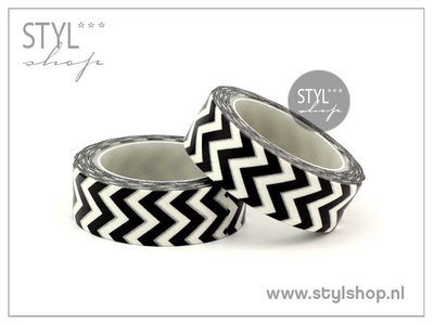 Washi tape / Masking tape zwart wit zigzag