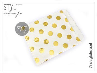 Cadeauzakje metallic stip goud M 13x18 cm kadozakje