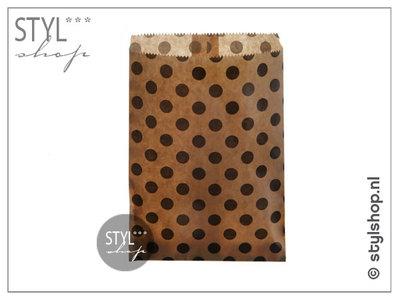 Cadeauzakje kraft stip zwart M 13x18 cm kadozakje