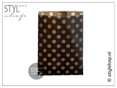 Cadeauzakje kraft stip bruin M 13x18 cm kadozakje