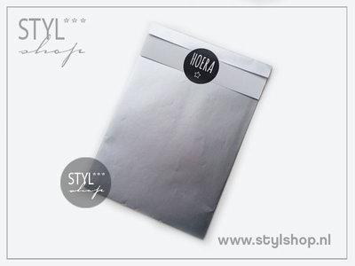 Cadeauzakje zilver M 12x19 cm kadozakje