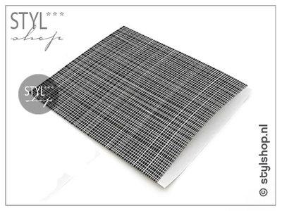 Cadeauzakje zwart wit streep XL 28x31,5 cm kadozakje