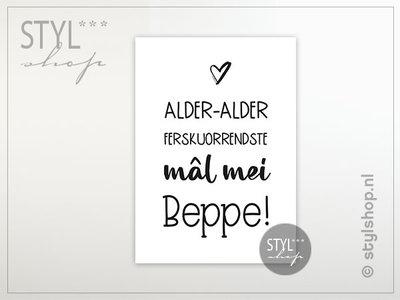 Friese ansichtkaart Mal mei beppe