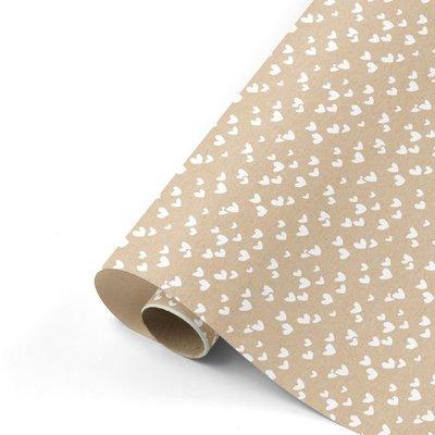 Kadopapier kraft hartje 2m x 30 cm inpakpapier