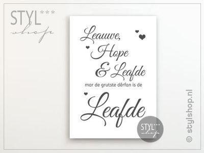 Poster Leauwe, hope en Leafde Fries / Frysk