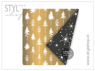 Kadopapier goud kerstboom kerst 2m x 30 cm inpakpapier