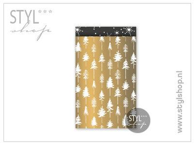 Cadeauzakje kerst goud L 17x25 cm kadozakje