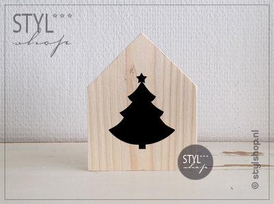 Houten huisje kerstboom decoratie