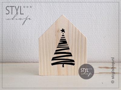Houten huisje kerstboom modern decoratie