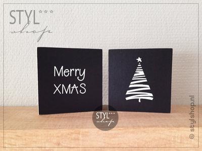 Set van 2 tekstblokjes Kerst Merry XMAS