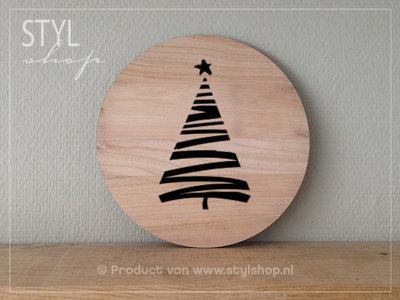 Muurcirkel hout Kerstboom decoratie
