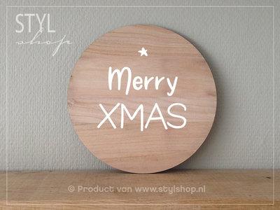 Muurcirkel hout Merry XMAS kerst decoratie