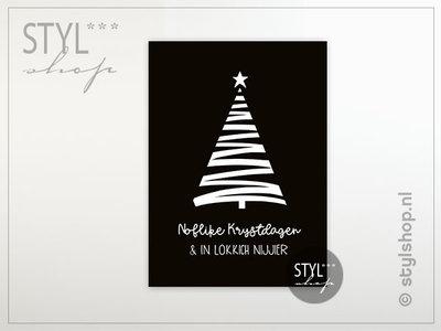 Friese kerstkaart Noflike Krystdagen zwart