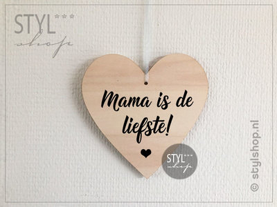 Houten hartje Mama is de liefste