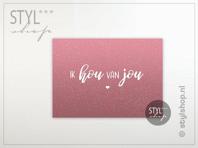 Ansichtkaart Ik hou van jou kleur