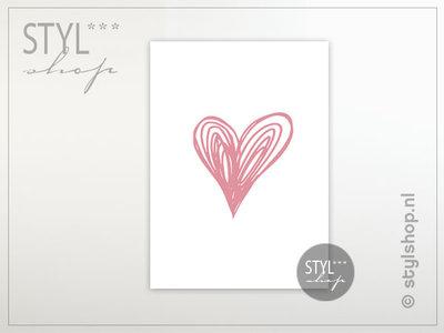 Ansichtkaart hart roze