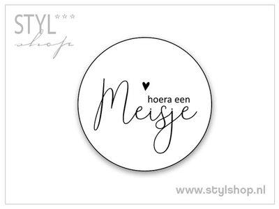 Sticker hoera een meisje 10 stuks