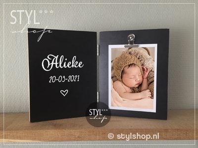 Fotolijst met naam en geboortedatum tweeluik
