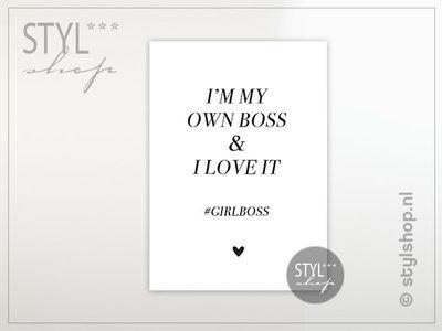 Ansichtkaart I'm my own boss and I love it girlboss