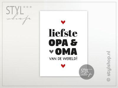 Ansichtkaart Liefste opa en oma van de wereld