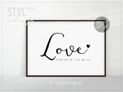 Poster A4 - Love met coördinaten - zwart / wit