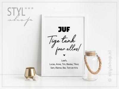 Poster Juf Tige tank foar alles met namen