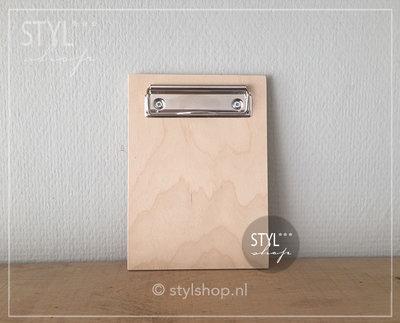 Houten klembord hout A6 klein draadklem