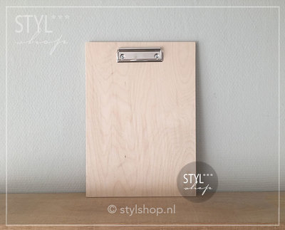 Houten klembord hout A4 groot draadklem liggend