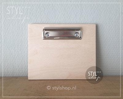 Houten klembord hout A6 klein draadklem liggend