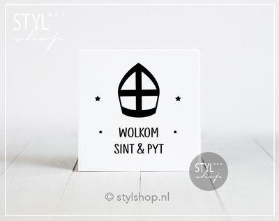 Decoratie Sinterklaas tegel Mijter Wolkom Sint & Pyt Frysk