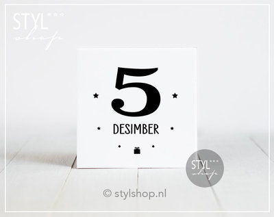 Decoratie Sinterklaas tegel Mijter 5 desimber Sint & Pyt Frysk