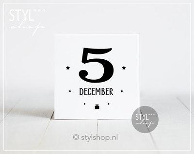 Decoratie Sinterklaas versiering tegel 5 december Sint & Piet