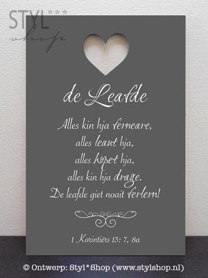 Tekstbord De Leafde... - Fries / Frysk