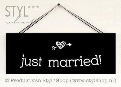Krijtbord Just married - Klein - bord met schoolbordverf